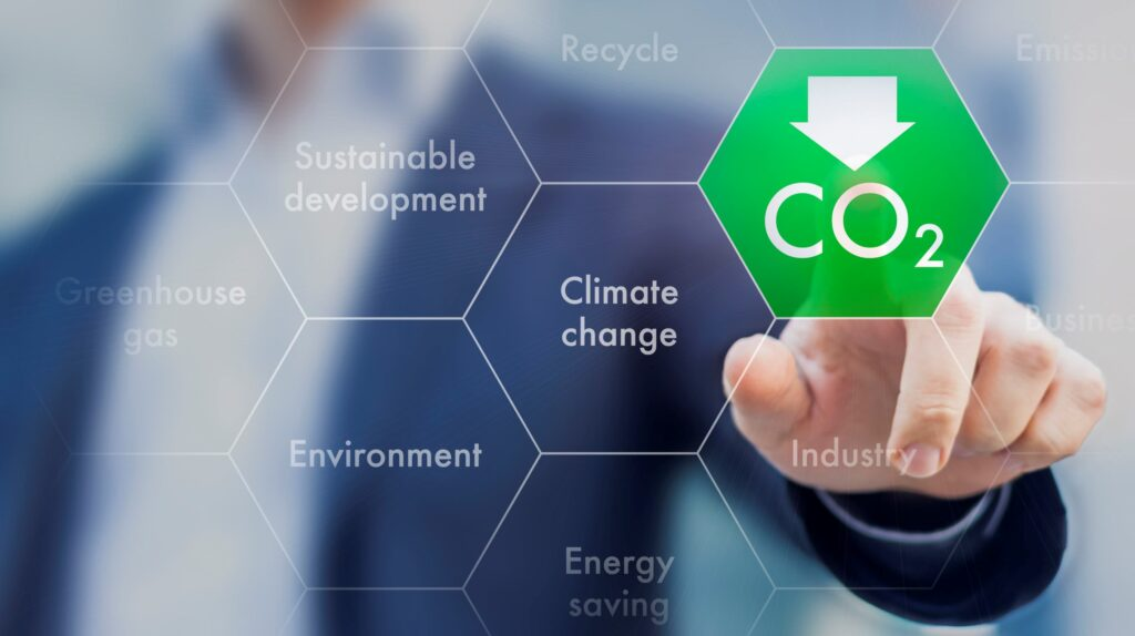 Decorative graphic pertaining to reduction of CO2 Emissions
